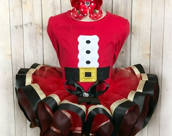 Santa Claus Christmas Ribbon Trim Tutu Dress Up Outfit - Christmas Dress Up - Christmas Photos - Holiday Dress Up Outfit - Santa Tutu