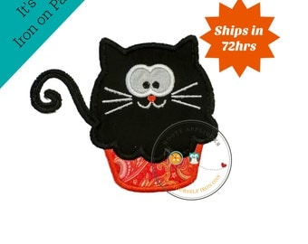 Black cat cupcake - small- iron embroidered fabric applique patch embellishment- ready to ship