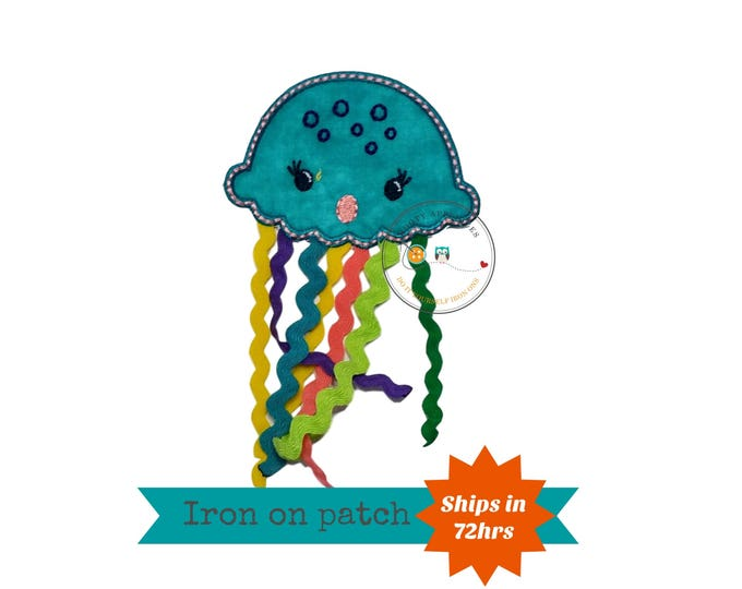 Summer teal jellyfish with ribbon iron on applique