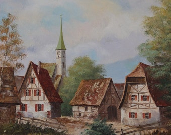 European Village Oil Painting on Canvas Homes Houses Landscape Unframed Vintage Artist Signed