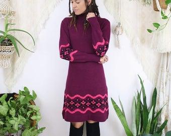 70s Sweater Dress, Plum Pink Bohemian Winter Rollneck dress, Small Medium 3833