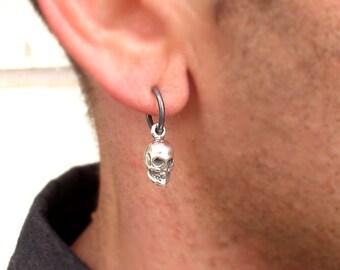 Mens Earring - Skull Earring for Men - Mens Jewelry - Punk Earring - Hoop Earring - Black Earring - Unisex Earring - Gothic earrings