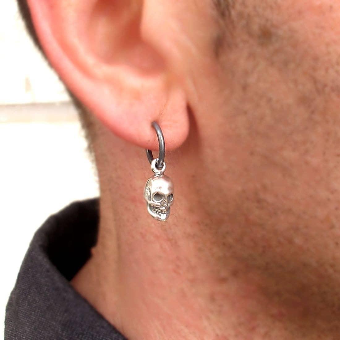 Mens earring skull earring for men mens jewelry punk for Men s jewelry earrings