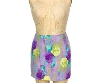 vintage 1990s GIANNI VERSACE mini skirt / watercolor abstract floral / silk / women's vintage skirt / tag size 40