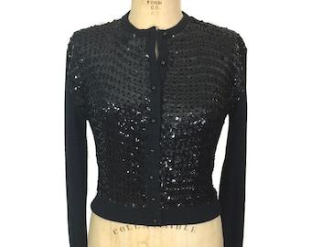 vintage 1960s sequin cardigan / Glen Lea / black / orlon acrylic / embellished cardigan / women's vintage sweater / size medium