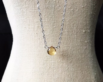 Citrine Necklace, Positive Energy Jewelry, Infertility, Fertility Necklace, Floating Gemstone Necklace, Pregnancy, TTC, Morning Sickness