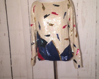 Vintage 80s sequined top - made in India - Red white blue gold sequins and beads - Medium - Unique
