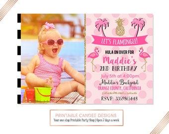 Pink Flamingo Invitation, Let's Flamingle Invitation, Flamingo Birthday Invitation, Pool Birthday Party, Luau Birthday Invite, Printable
