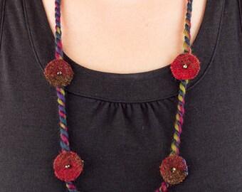 Boho Layering Stacking Necklace, Art Yarn Single Strand Necklace, Hippie Fiber Fabric Necklace, Harris Tweed Textile Necklace, Eco Friendly