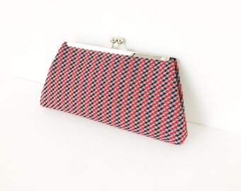 Red, Grey, Black Houndsooth Patterned Kisslock Clutch,  Vintage Fabric, Recycled, Reclaimed fabric, Silver Metal Frame, Kiss lock