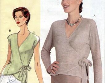 """Women's Wrap Top Pattern- Size D, E, F, Bust 38"""", 40 1/2"""", 43"""" - Vogue's Today's Fit 7024, petite-able, uncut"""