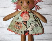 Valentine's Day Ornament Sized Annie - Primitive Raggedy Ann Dolls (HAFAIR)