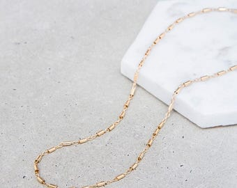 NEW / Tube & Link Choker Necklace / minimal dainty gold chain layering choker / 14k gold fill