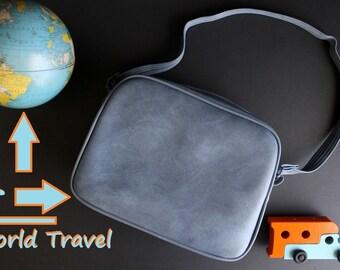 Vintage Shoulder Bag Luggage Light Blue Small Carry On Bag Tote