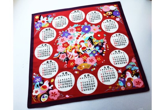 Japanese Calendar Year : Japanese calendar fabric furoshiki wall