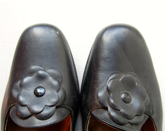 1960's mod Thom McAn unworn black leather flats//made in Italy