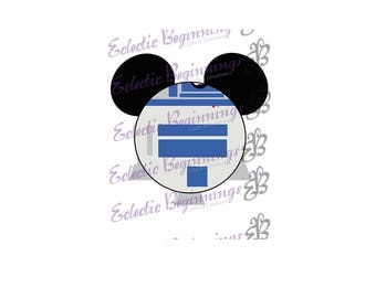 Disney Digital File, DIY Print Iron On-Disney Star Wars R2D2 Mickey Ears JPG File