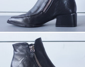 Vintage polished black leather double zip detail cowboy style boho low chunky heel pointy toe ankle boots 7.5 38