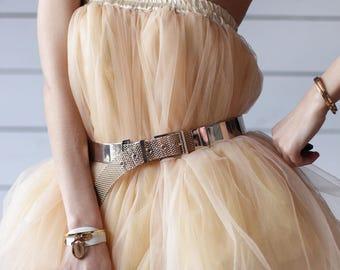 Vintage shiny gold golden mirror disco waist hip metal mesh belt
