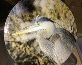 Great Blue Heron Large Round Glass Cutting Board 12 in