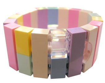 Kawaii Pastel bracelet - made from LEGO (R) bricks on stretchy cords