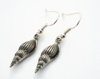 Sea Shell Earrings, Antiqued Silver Auger Shell Earrings, Personalized Birthstone Earrings, Beach Earrings,  Nautical, Seashell Earrings