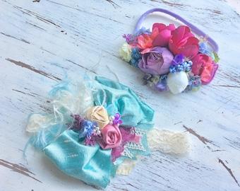 Floral headband- Baby Girl Headband- baby Headband- Flower Girl Headband- Persnickety Headband- Photo Prop