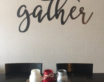 Gather Metal Sign | 4 FT | Metal Gather Sign | Metal Gather Word | Dining Room Decor | Gallery Wall Decor | Gather