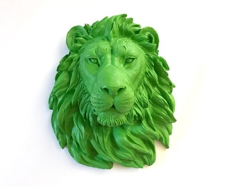 GREEN Large Faux Taxidermy Lion Head wall mount wall hanging / faux animal head / faux taxidermie / mounted lion head / safari wall decor