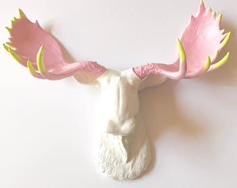ANY COLOR Combo Custom Faux Taxidermy Moose Head wall mount with Painted Tips Choose your own colors for head antlers & tips nursery wall