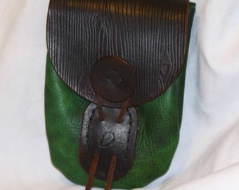 Green/Brown Leather Woodland Pouch