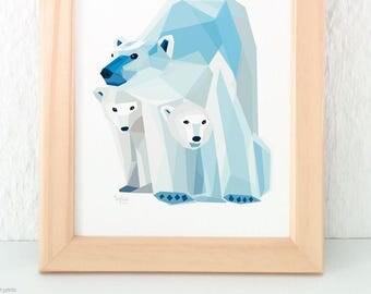 Polar bear print, Mother and children, Baby bear nursery art, Baby animal art, Children's bear art, Geometric polar bear, New born baby gift