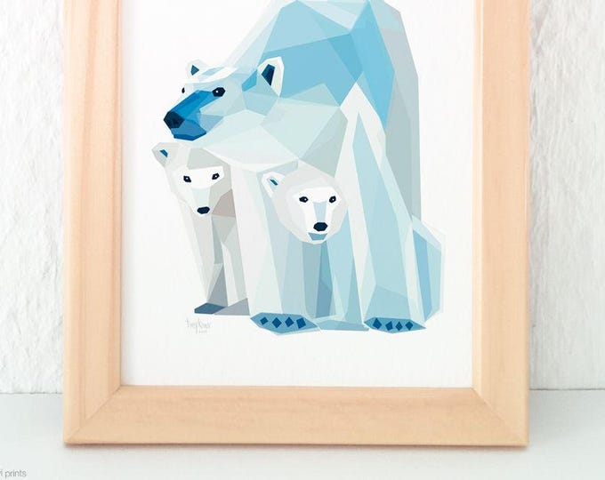 Polar bear print, Mother and children, Baby bear nursery art, Baby animal art, Children's bear art, Geometric polar bear, New born baby gift