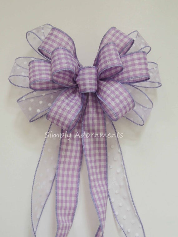 Lavender purple Gingham Bow Purple Lavender Wreath Bow Spring Easter Wreath Bow Lavender Gift Bow Pastel Purple 1st Birthday Party Decor