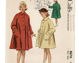McCalls Sewing Patterns 8676, Girls Flared Coat Pattern with Raglan Sleeves, Vintage 1950s Childs Size 6 Breast 24, Complete
