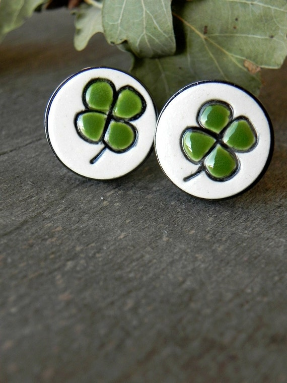 St. Patricks Day Cuff Links wit Clover, Lucky Wedding 4 Leaves Cuff Links, Fathers Gift Boyfriend Gift Best Man Groomsmen Unisex Accessories