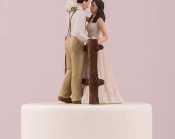 Wedding Cake Topper, Rustic Bride and Groom Cake Topper, Rustic Wedding Cake Topper, Porcelain Wedding Cake Top, Country Wedding Cake Top