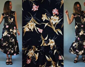 1980s Black Hawaiian Floral Peplum Dress