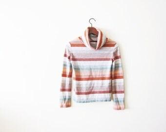Vintage Turtleneck / 70s Turtleneck / Striped Cowl Neck / 1970s Clothing / Southwestern Desert Mint Rust / XS S