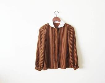Striped Blouse / Womans Stripe Shirt / Peter Pan Collar Top / 80s blouse / Secretary / Brown Black Stripe Vintage Blouse Small