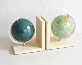 Mini globe book ends, sky globe bookends, wooden bookends, astronomy gift, wedding gift Ref: 750