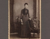 Full-Length Fashion Cabinet Card ~ Young Woman Holding Flowers