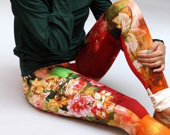 "Legging ""Doina"", yoga pants, yoga legging, legging flowers, flower legging, legging, leggings"