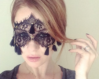 Lace Mask with Tassels - Black Tassel Mask with Gold Beading - Masquerade Tassel Mask - Eyes Wide Shut Mask - Mystery Sexy Mask