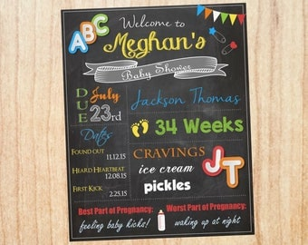 Alphabet Baby Shower Welcome Sign. PRINTABLE ABC baby shower chalkboard. DIGITAL abc's chalk board poster. alphabet baby shower decorations