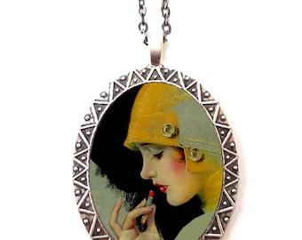 Flapper Lipstick Necklace Pendant Silver Tone - Art Deco 1920s Jazz Age Roaring 20s