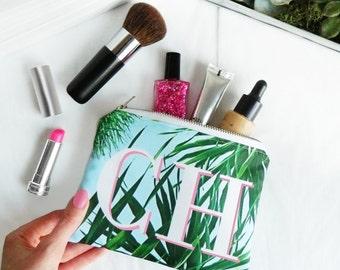 Kuta palm leaf print monogram mini make-up bag