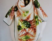 1950s floral scarf, 50s square scarf, vintage scarf, fall foliage, hand rolled,  rayon scarves, headscarf, 40s fashion, vintage hairwrap,