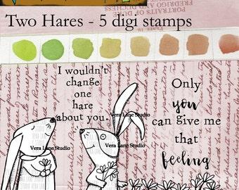 Two Hares - 5 digi stamp bundle