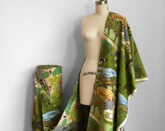 Novelty print Grandma Moses Barkcloth Fabric Bolt • Childhood Home Farm Landscape Scene • Americana Drapery Panels • Upholstery Fabric